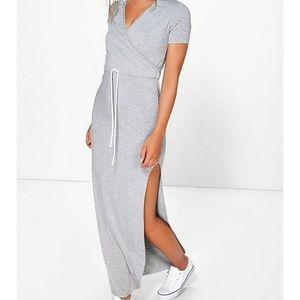 Boohoo gray maxi dress